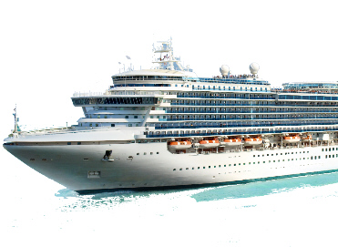 Large modern multi deck cruise ship in ocean